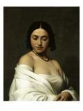 Etude florentine ou jeune fille en buste les yeux baissés Gicléetryck av Hippolyte Flandrin