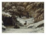 La remise des chevreuils en hiver Reproduction procédé giclée par Gustave Courbet