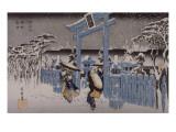 Le sanctuaire de Gion sous la neige Giclée-tryk af Ando Hiroshige