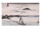 Le vol des oiseaux sauvages à Katad Giclee Print by Ando Hiroshige