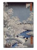 Le pont Taiko et la colline Yûshi à Meguro Giclée-tryk af Ando Hiroshige