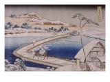 The Pontoon Bridge at Sano in the Province of Kozuka Reproduction procédé giclée par Katsushika Hokusai