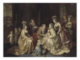 Les membres de la famille royale de France réunis autour du Dauphin né en 1781 Reproduction procédé giclée