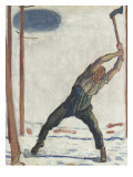 Le bûcheron (der Holzfäller) Giclee Print by Ferdinand Hodler