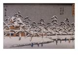 Vue d'un temple sous la neige Giclee Print by Ando Hiroshige