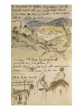 Album du Maroc: En haut, vue des remparts et de la ville de Tanger, la mer vers la gauche et fond Giclee Print by Eugene Delacroix