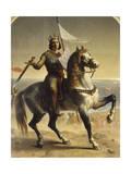 Saint Louis (Louis IX), roi de France en 1226 (1214-1270), portrait équestre lors de son Reproduction procédé giclée par Emile Signol