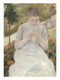 Jeune fille au jardin, dit aussi Femme cousant dans un jardin Reproduction procédé giclée par Mary Cassatt