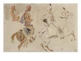 """Trois études de cavaliers orientaux allant sur la droite d'après """"Le Voyage en Inde pendant les Giclée-tryk af Eugene Delacroix"""