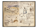 Album du Maroc: vue des remparts et de la ville de Tanger, en bas : arcades et deux arabes dont Reproduction procédé giclée par Eugene Delacroix