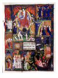 Manuscript of the Hours of Rohan-Montauban: The Resurrection of Christ and the Descent into Hell Giclée-tryk