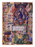 Manuscript of the Rohan-Montauban Hours: Christ in Majesty Surrounded by the Four Evangelists Giclée-tryk