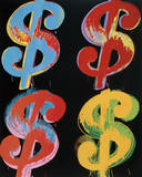 Four Dollar Signs, c.1982 (blue, red, orange, yellow) Posters af Andy Warhol