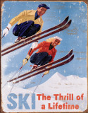Skidor, spänning som räcker en livstid Plåtskylt
