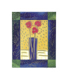 Pink Flowers on Yellow Giclee Print by  Hussey
