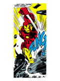 Marvel Comics Retro: The Invincible Iron Man Comic Panel  Fighting  Charging and Smashing - Zung!