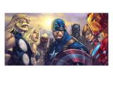 Ultimates 3 No.5 Cover: Captain America, Hawkeye, Black Panther, Iron Man, Wasp, Thor and Sif Kunstdrucke von Joe Madureira