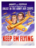 WWII Abbott and Costello Recruiting Poster Giclee Print
