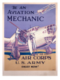 WWII AAF Army Air Corps Aviation Mechanic Poster Stampa giclée