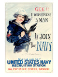 WWII US Navy I Wish I Were a Man Stampa giclée