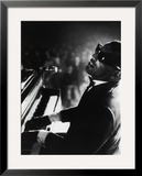 Ray Charles Playing Piano in Concert Framed Photographic Print by Bill Ray