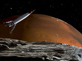 A Spaceship in Orbit over Mars Moon, Phobos, with the Red Planet Mars in the Background Fotografie-Druck