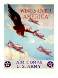 WWII US Army Air Corps 'Wings Over America' Stampa giclée