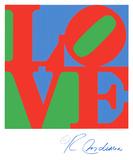 Classic Sky Love, woord Love tegen blauwe en groene achtergrond Zeefdruk van Robert Indiana