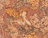 Redhead Among Flowers Poster von Alphonse Mucha