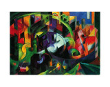 Abstract with Cattle Affiches par Franz Marc