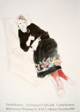 Celia In A Black Dress With Colored Border Collectable Print by David Hockney