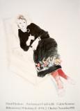 Celia In A Black Dress With Colored Border Stampa da collezione di David Hockney