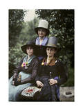An Autochrome Features Women Living in an Alpine Village Photographic Print by Hans Hildenbrand