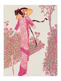 Woman In Pink Dress Giclée-Druck von Georges Barbier