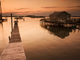 Docks and Boathouses in Tylerton on Smith Island, Chesapeake Bay Stretched Canvas Print by Aaron Huey