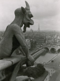 A Gargoyle Looking over the City of Paris Photographic Print by Maynard Owen Williams
