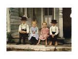 An Informal Group Portrait of Amish Children Fotografisk tryk af J. Baylor Roberts