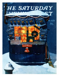 """""""Newsstand in the Snow"""" Saturday Evening Post Cover, December 20,1941 ジクレープリント : ノーマン・ロックウェル"""