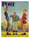 """Coin Toss"" Saturday Evening Post Cover, October 21,1950 Gicléetryck av Norman Rockwell"