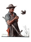 """""""Farmer and the Bird"""" or """"Harvest Time"""", August 18,1923 Giclée-tryk af Norman Rockwell"""