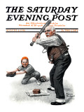 """Gramps at the Plate"" Saturday Evening Post Cover, August 5,1916 Reproduction procédé giclée par Norman Rockwell"