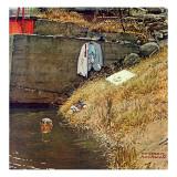 """Swimming Hole"", August 11,1945 Lámina giclée por Norman Rockwell"