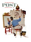"""Triple Self-Portrait"" Saturday Evening Post Cover, February 13,1960 Giclee-trykk av Norman Rockwell"