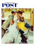 """""""Soda Jerk"""" Saturday Evening Post Cover, August 22,1953 Trykk på strukket lerret av Norman Rockwell"""
