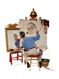 """Triple Self-Portrait"", February 13,1960 Giclee-trykk av Norman Rockwell"