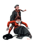"""Skating Lesson"", February 7,1920 Giclee-trykk av Norman Rockwell"