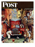 """Road Block"" Saturday Evening Post Cover, July 9,1949 Giclee-trykk av Norman Rockwell"