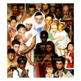 """Golden Rule"" (Do unto others), April 1,1961 Giclee-trykk av Norman Rockwell"