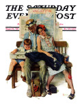 """Home from Vacation"" Saturday Evening Post Cover, September 13,1930 Reproduction procédé giclée par Norman Rockwell"