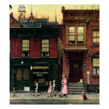 """Walking to Church"", April 4,1953 Giclee Print by Norman Rockwell"